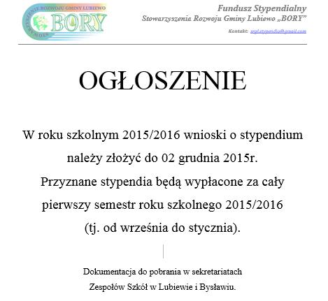 """Stypendium dla ucznia od Stowarzyszenia Rozwoju Gminy Lubiewo """"Bory"""" 2016"""