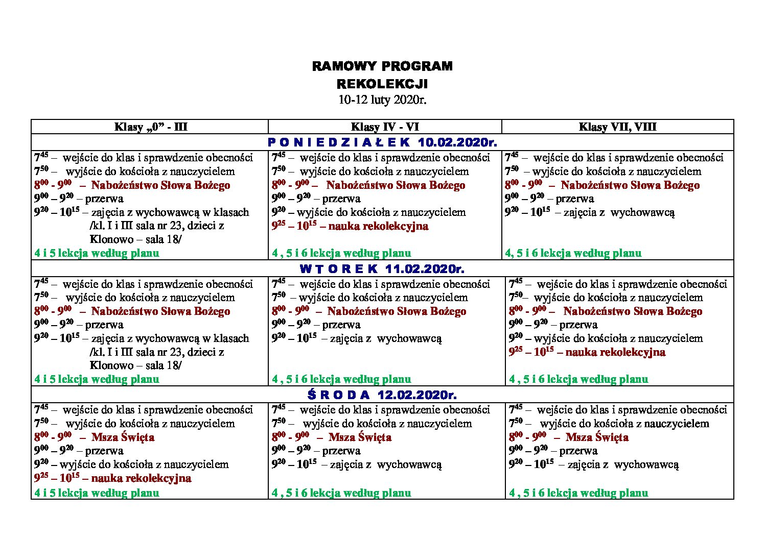 Program Rekolekcji 10-12 luty 2020